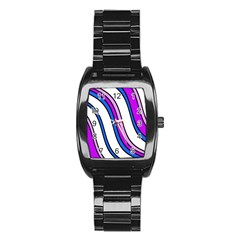 Purple Lines Stainless Steel Barrel Watch by Valentinaart