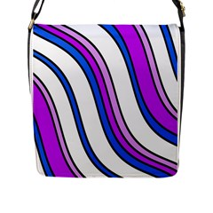 Purple Lines Flap Messenger Bag (l)  by Valentinaart