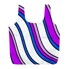 Purple Lines Full Print Recycle Bags (l)  by Valentinaart