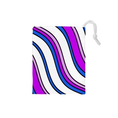 Purple Lines Drawstring Pouches (small)  by Valentinaart