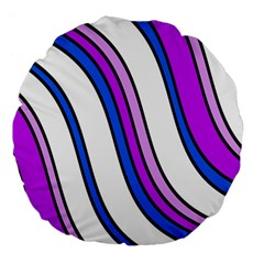 Purple Lines Large 18  Premium Flano Round Cushions by Valentinaart