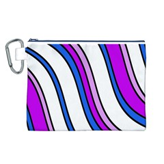 Purple Lines Canvas Cosmetic Bag (l) by Valentinaart