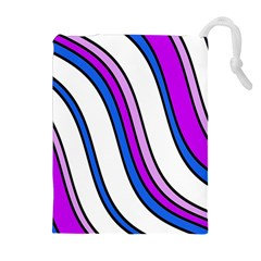 Purple Lines Drawstring Pouches (extra Large) by Valentinaart