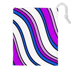 Purple Lines Drawstring Pouches (xxl) by Valentinaart