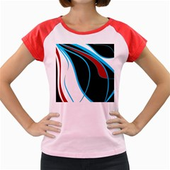 Blue, Red, Black And White Design Women s Cap Sleeve T Shirt by Valentinaart