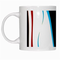 Blue, Red, Black And White Design White Mugs by Valentinaart