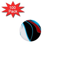 Blue, Red, Black And White Design 1  Mini Buttons (100 Pack)  by Valentinaart