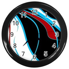 Blue, Red, Black And White Design Wall Clocks (black) by Valentinaart