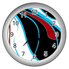 Blue, Red, Black And White Design Wall Clocks (silver)  by Valentinaart