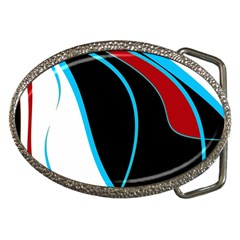 Blue, Red, Black And White Design Belt Buckles by Valentinaart