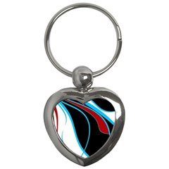 Blue, Red, Black And White Design Key Chains (heart)  by Valentinaart