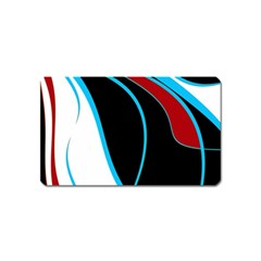 Blue, Red, Black And White Design Magnet (name Card) by Valentinaart
