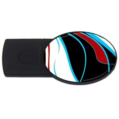 Blue, Red, Black And White Design Usb Flash Drive Oval (2 Gb)  by Valentinaart