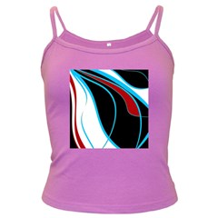 Blue, Red, Black And White Design Dark Spaghetti Tank by Valentinaart