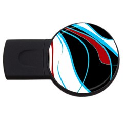Blue, Red, Black And White Design Usb Flash Drive Round (4 Gb)  by Valentinaart