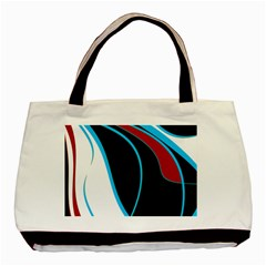 Blue, Red, Black And White Design Basic Tote Bag (two Sides) by Valentinaart