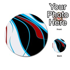 Blue, Red, Black And White Design Multi Purpose Cards (round)  by Valentinaart