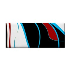 Blue, Red, Black And White Design Hand Towel by Valentinaart