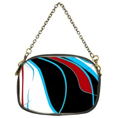 Blue, Red, Black And White Design Chain Purses (one Side)  by Valentinaart