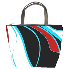 Blue, Red, Black And White Design Bucket Bags by Valentinaart