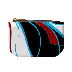 Blue, Red, Black And White Design Mini Coin Purses by Valentinaart