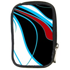 Blue, Red, Black And White Design Compact Camera Cases by Valentinaart