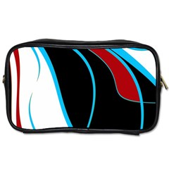 Blue, Red, Black And White Design Toiletries Bags by Valentinaart