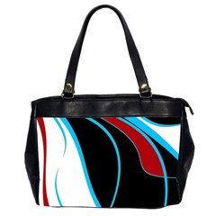 Blue, Red, Black And White Design Office Handbags (2 Sides)  by Valentinaart