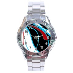 Blue, Red, Black And White Design Stainless Steel Analogue Watch by Valentinaart
