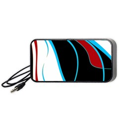 Blue, Red, Black And White Design Portable Speaker (black)  by Valentinaart