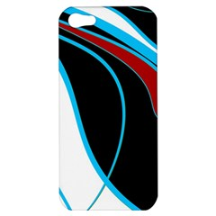 Blue, Red, Black And White Design Apple Iphone 5 Hardshell Case by Valentinaart