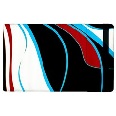 Blue, Red, Black And White Design Apple Ipad 2 Flip Case by Valentinaart