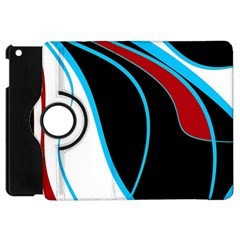 Blue, Red, Black And White Design Apple Ipad Mini Flip 360 Case by Valentinaart
