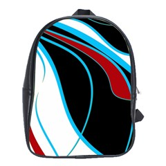 Blue, Red, Black And White Design School Bags (xl)  by Valentinaart