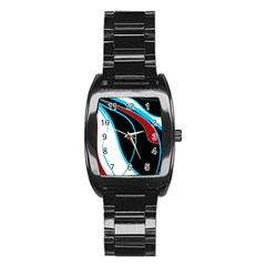 Blue, Red, Black And White Design Stainless Steel Barrel Watch by Valentinaart