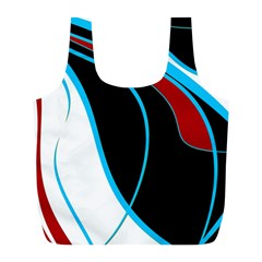 Blue, Red, Black And White Design Full Print Recycle Bags (l)  by Valentinaart
