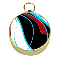 Blue, Red, Black And White Design Gold Compasses by Valentinaart