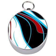 Blue, Red, Black And White Design Silver Compasses by Valentinaart
