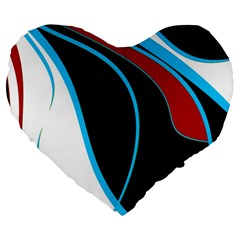 Blue, Red, Black And White Design Large 19  Premium Flano Heart Shape Cushions by Valentinaart