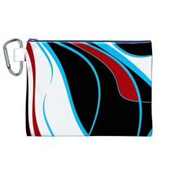 Blue, Red, Black And White Design Canvas Cosmetic Bag (xl) by Valentinaart
