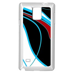 Blue, Red, Black And White Design Samsung Galaxy Note 4 Case (white) by Valentinaart