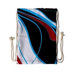 Blue, Red, Black And White Design Drawstring Bag (small) by Valentinaart