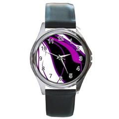 Purple Elegant Lines Round Metal Watch by Valentinaart