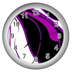 Purple Elegant Lines Wall Clocks (silver)  by Valentinaart