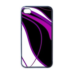 Purple Elegant Lines Apple Iphone 4 Case (black) by Valentinaart