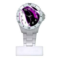 Purple Elegant Lines Plastic Nurses Watch by Valentinaart