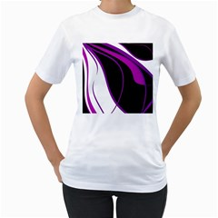 Purple Elegant Lines Women s T Shirt (white)  by Valentinaart