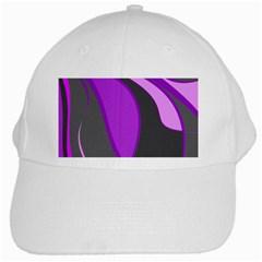 Purple Elegant Lines White Cap by Valentinaart
