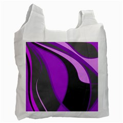 Purple Elegant Lines Recycle Bag (two Side)  by Valentinaart