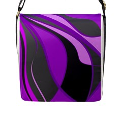 Purple Elegant Lines Flap Messenger Bag (l)  by Valentinaart